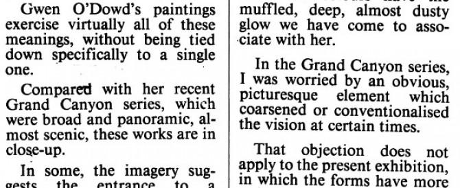 'Uaimh' at Kerlin, Irish Times, March 1997; by Brian Fallon